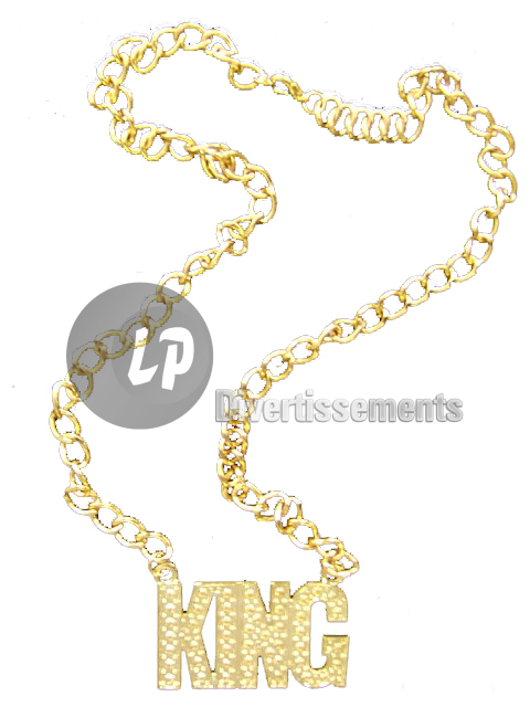 collier métallique doré KING