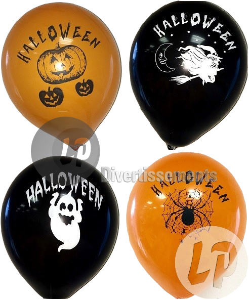 lot de 8 ballons 30cm motifs Halloween NOIR & ORANGE