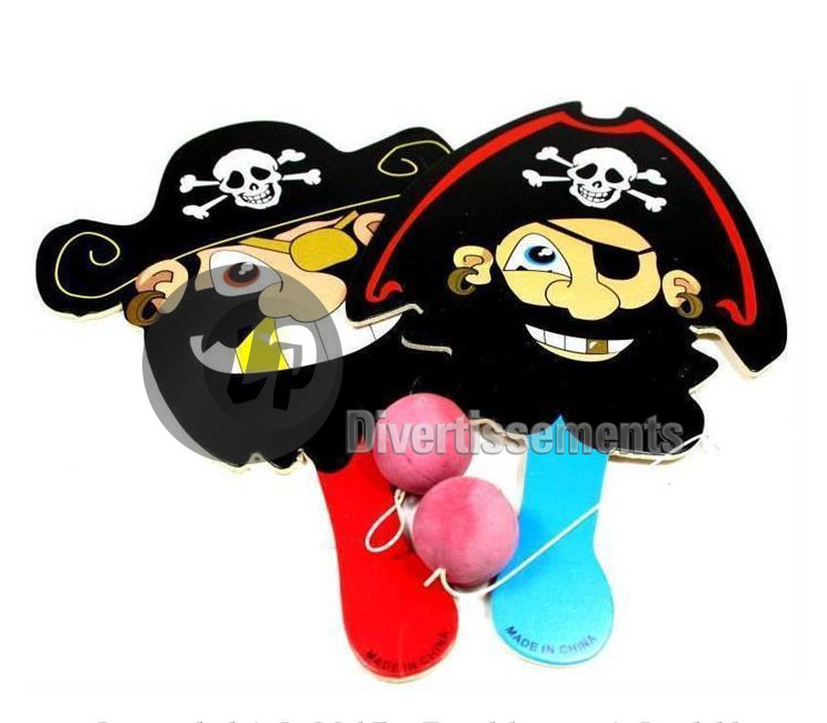 lot de jeu paddle-ball pirate 22cm