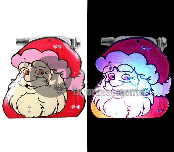 badge/magnet LED visage de père Noël