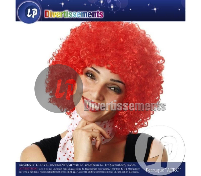perruque afro moyenne ROUGE