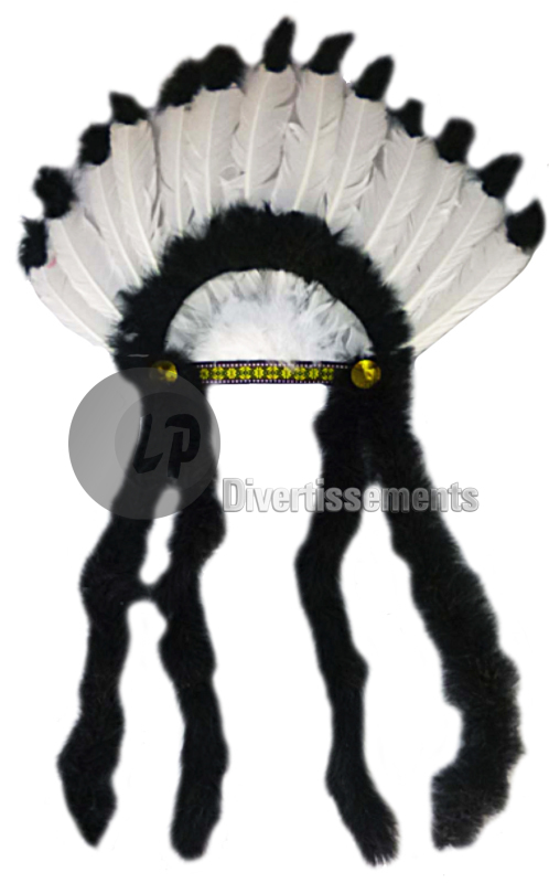 Indian headdress<br> black and white<br>medium