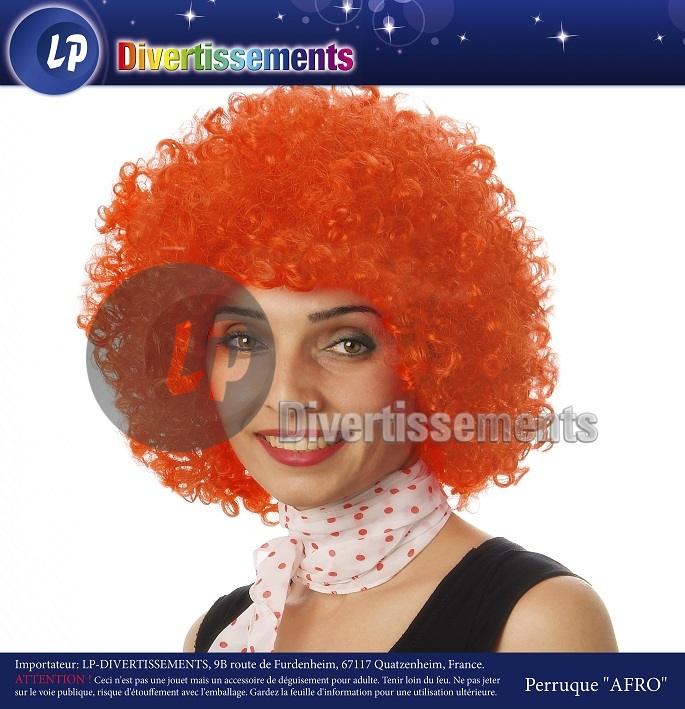 perruque afro moyenne ORANGE