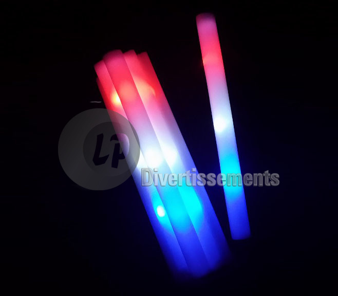 baton lumineux mousse tap tap LEDs multi FRANCE 47cm
