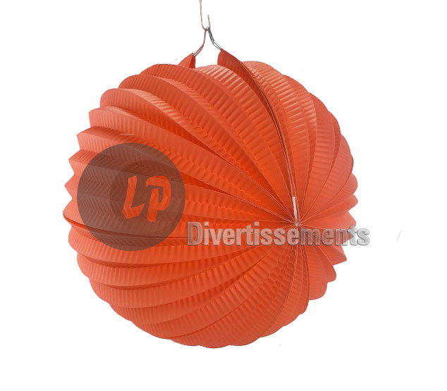 lampion avec porte bougie ORANGE 25cm