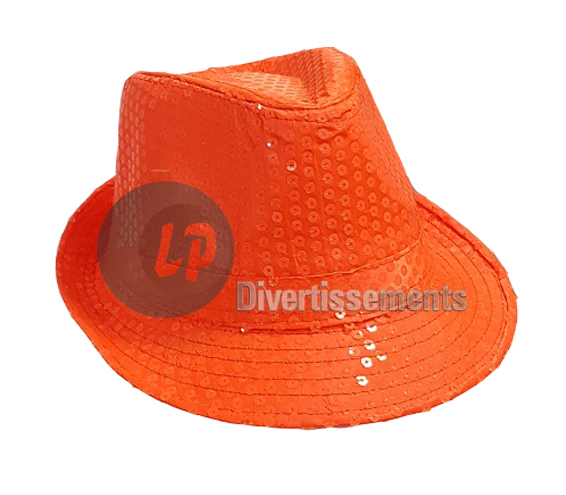 chapeau borsalino à sequins néon fluo ORANGE