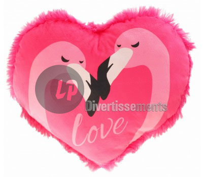 coeur en peluche Flamants in love ROSE 28cm