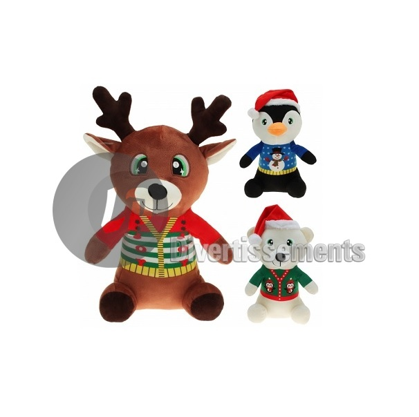 peluche animal de Noël MIX 20cm