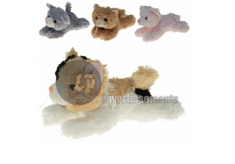 peluche chat allongé MIX 17cm