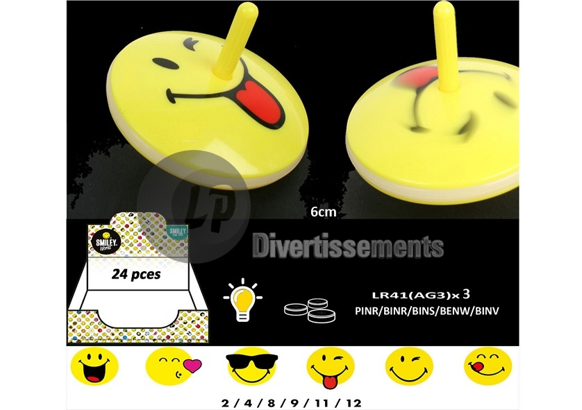 toupie lumineuse smiley MIX 6cm
