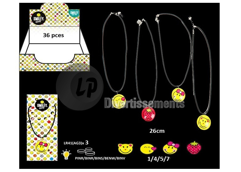 collier lumineux smiley MIX 26cm