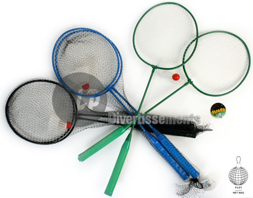 set of badminton<br>rackets &amp; 2 ball