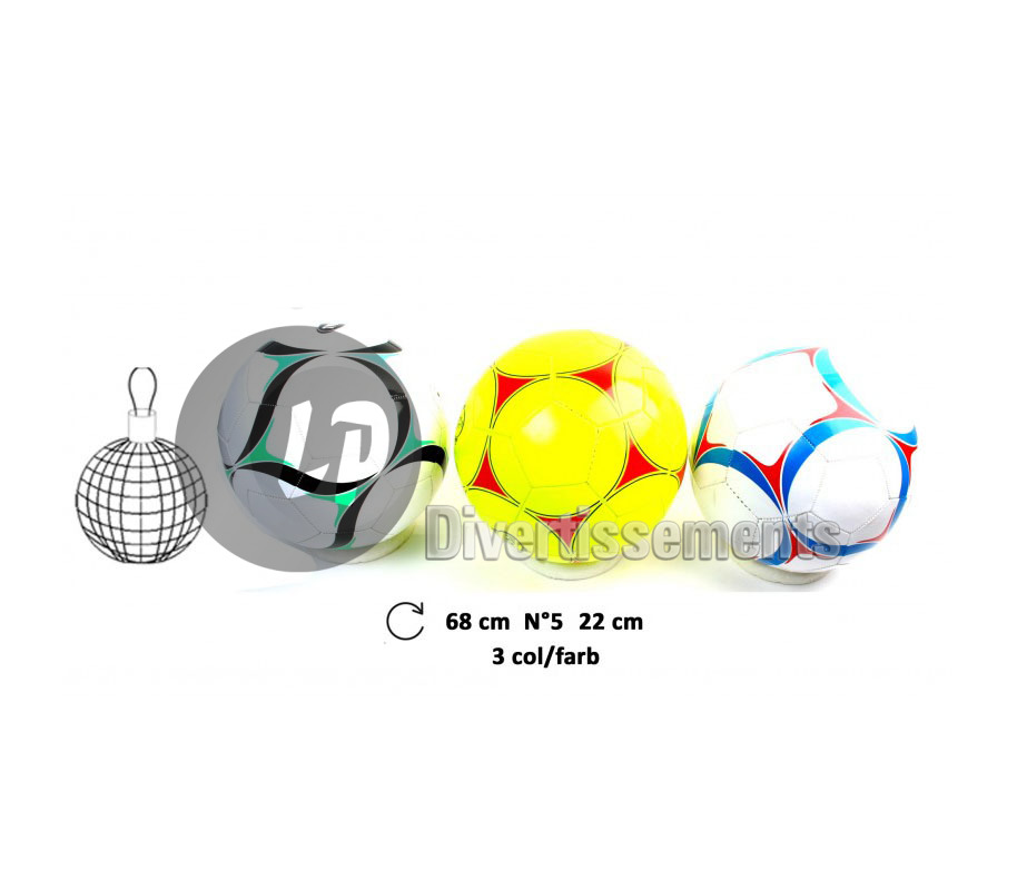 ballon de football taille 5 imitation cuir MIX 22cm