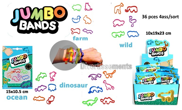 lot de 6 bracelets animaux JUMBO BANDS MIX