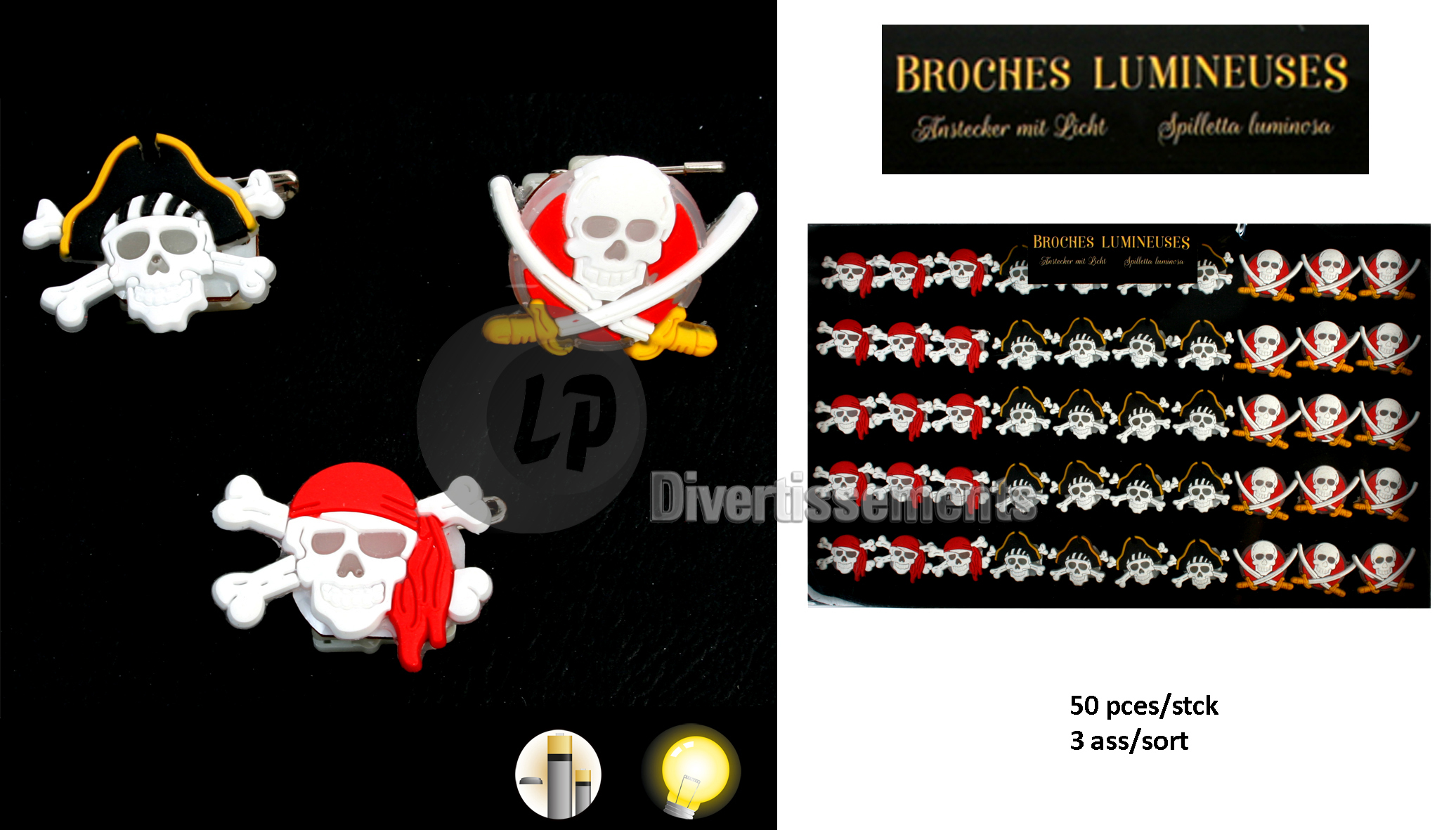 badge broche lumineuse LED pirate MIX 2.5cm