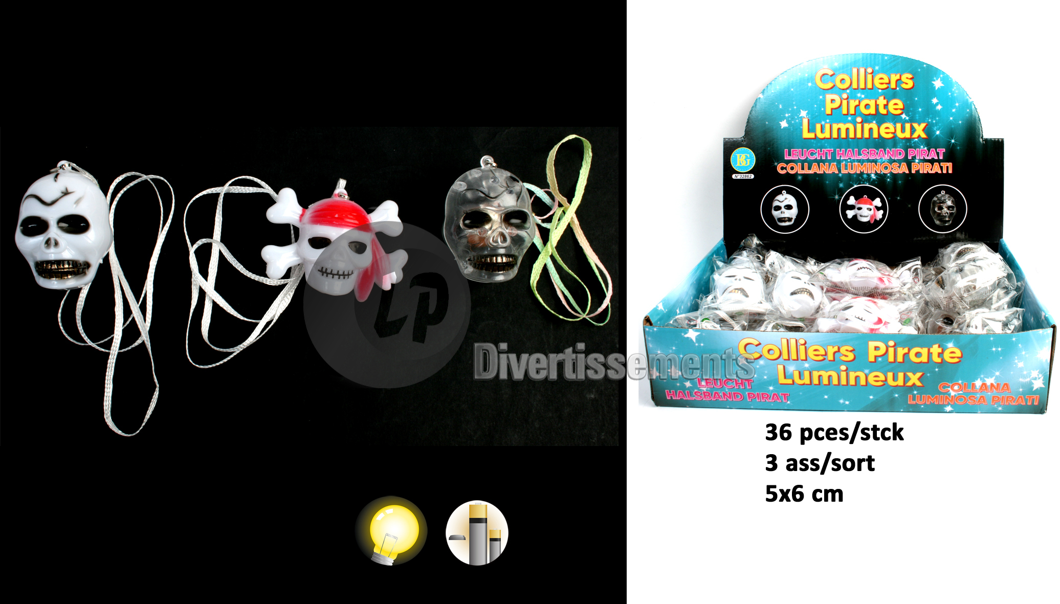 collier lumineux LED pirate MIX 6cm