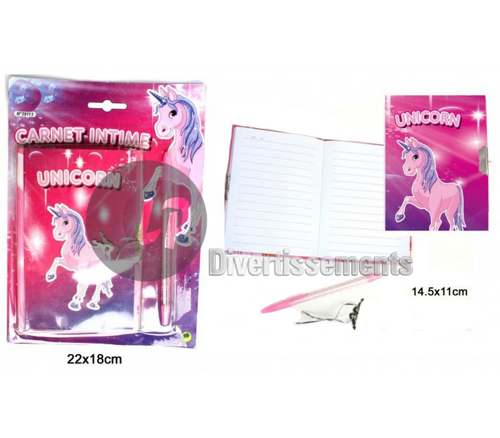 set carnet intime licorne ROSE 2pcs