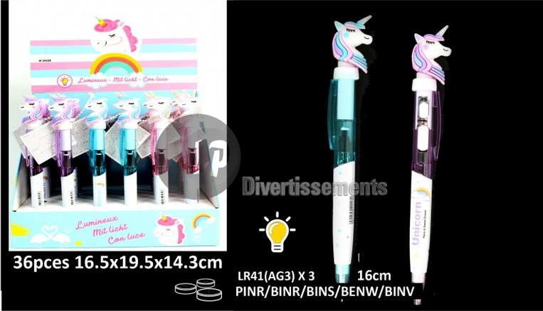 stylo bille licorne lumineux LED MIX 16cm