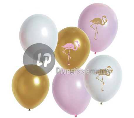lot de 6 ballons de fête flamant MIX
