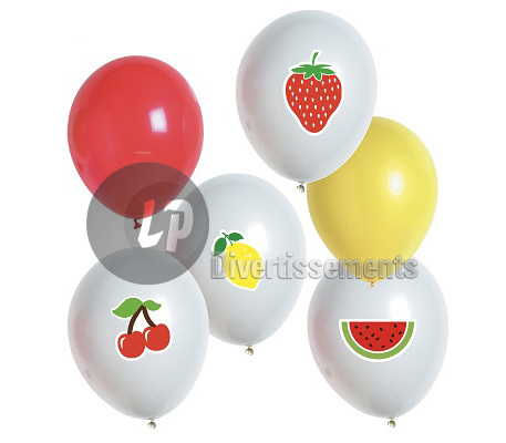 lot de 6 ballons de fête fruits MIX
