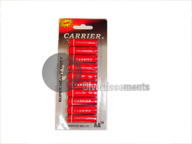 lot de 10 piles LR06 AA Carrier