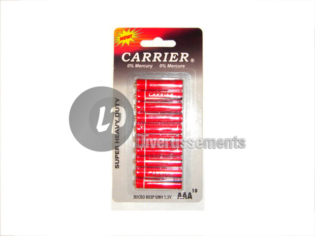 lot de 10 piles LR03 AAA Carrier
