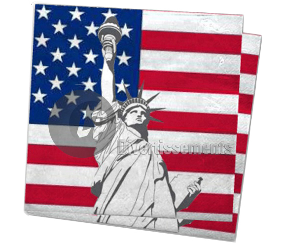 lot de 20 serviettes en papier USA 33x33cm