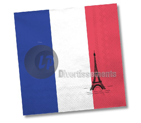 lot de 20 serviettes en papier FRANCE 33x33cm