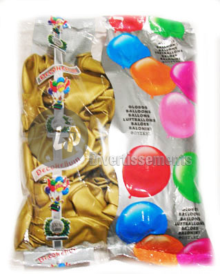 lot de 100 ballons latex 40cm METALLISES OR