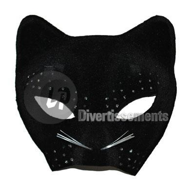 demi masque de chat NOIR strass