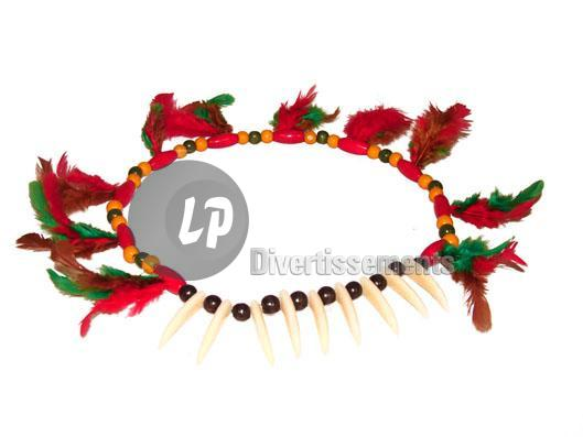 collier d'indien dents & plumes
