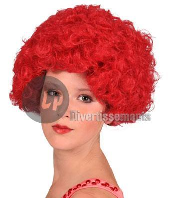 perruque hippy afro ROUGE