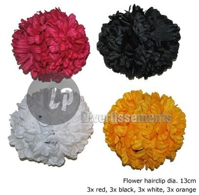 czerwony kwiat<br> clip dia13cm<br>czarny żółty