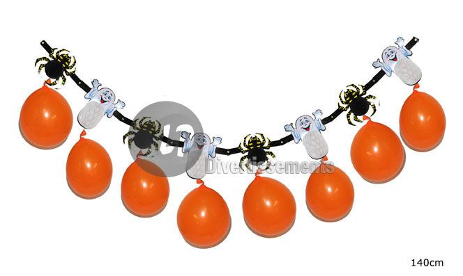Girlande Geister<br> und Spinnen 8<br>Orange Luftballons
