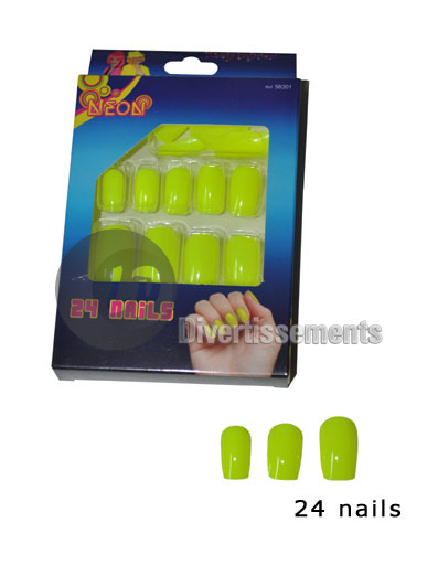 lot de 24 faux ongles JAUNE FLUO NEON