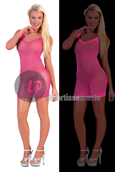 robe filet PINK NEON FLUO