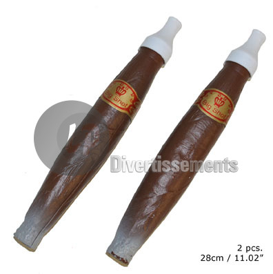 lot de 2 gros cigares factices 28cm