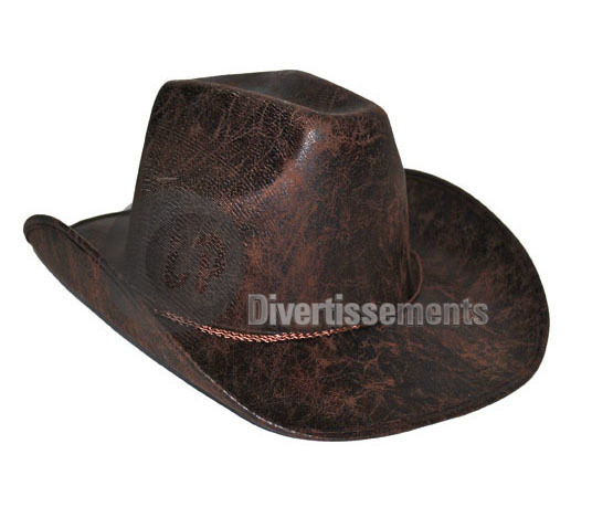 chapeau cowboy imitation cuir Indiana jones