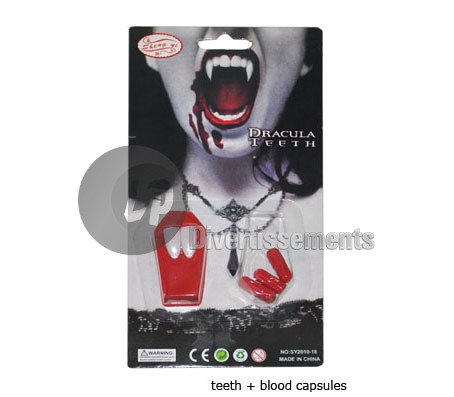 kit vampire 2 dents et capsules de faux sang