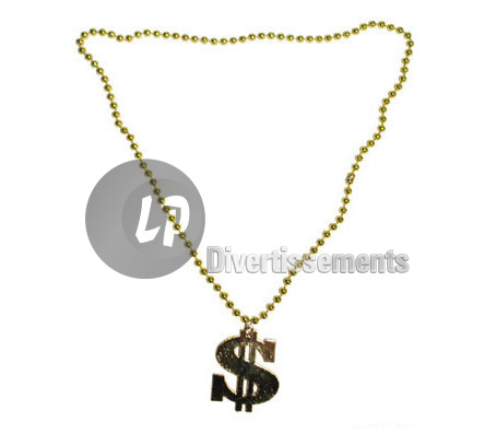 collier dollar en plastique OR new