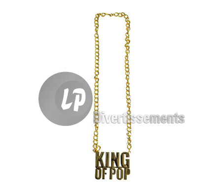 collier métallique doré KING OF POP