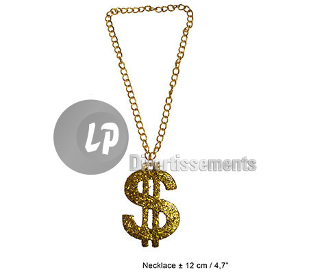 collier dollar en plastique 12cm OR