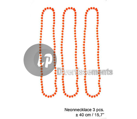 lot de 3 colliers de perles en plastique néon ORANGE