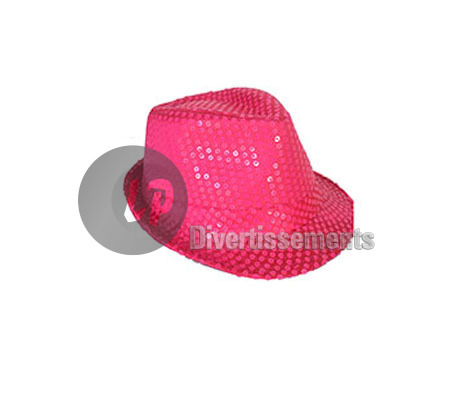 chapeau Tribly à sequins néon fluo ROSE