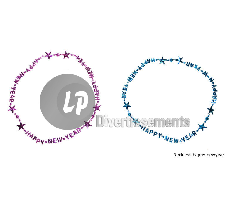 "lot de 2 colliers réveillon ""Happy new year"""