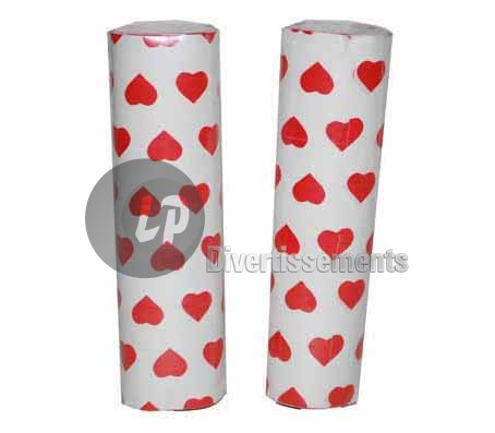 lot de 2 rouleaux de serpentins COEUR ROUGE