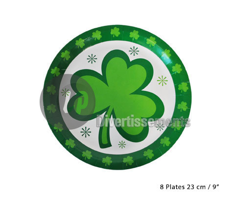 Saint Patrick lot de 8 grandes assiettes en carton