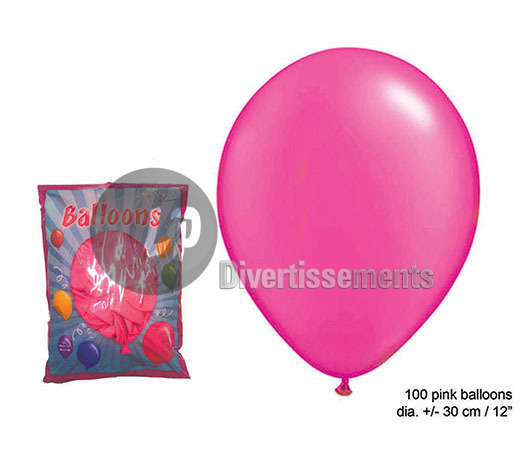 lot de 100 ballons latex opaques PINK 30cm
