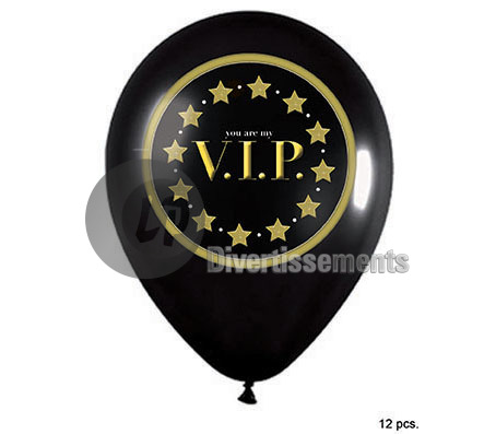 lot de 12 ballons VIP 30cm NOIR et OR