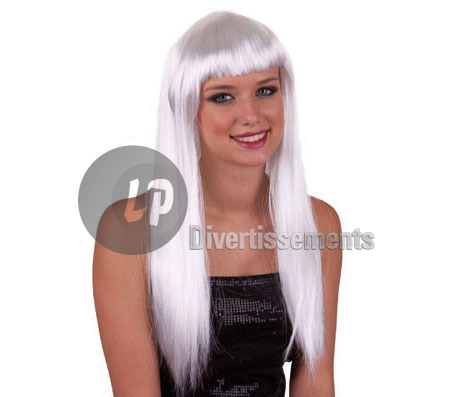 perruque cheveux longs pretty pony BLANC